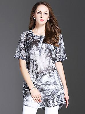 es · Dannuo női kiment kifinomult nyári blúz, nyomtatás kerek nyakú ½ hossz ujjú fehér pamut / vászon vékony