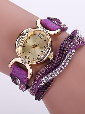 kvinders boheme stil krystal læder band hvid tilfælde analog quartz armbånd mode ur