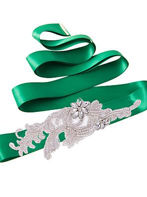 Satin Wedding / Party/ Evening / Dailywear Sash - Sequins / Beading / Appliques / Crystal / Rhinestone Women's Sashes