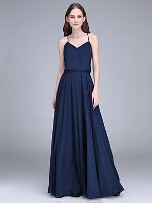 2017 Lanting bride® podlahy Délka šifónové družička šaty plášť / sloupec špagetová ramínka s