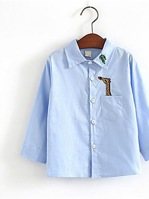 Boy's Casual/Daily Print Shirt,Cotton Spring / Fall Blue / Pink / White