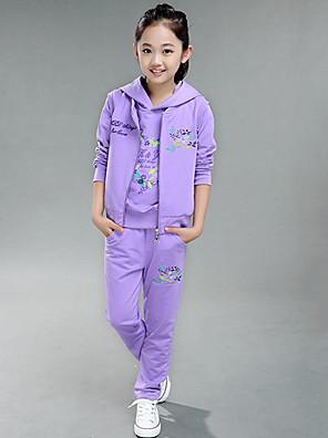Girl's Cotton Spring/Autumn Fashion Print Sports Long Sleeve Three-piece Set