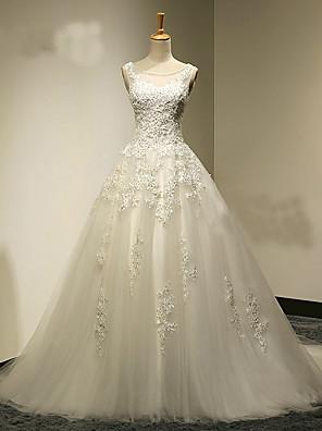 Linha A Vestido de Noiva Cauda Escova Decote em U Tule com Com Apliques / Miçanga / Cristais / Pérola