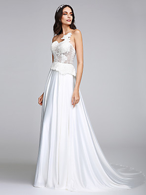 Lanting Bride® A-line Wedding Dress Court Train Strapless Charmeuse with Appliques