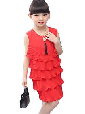 Dívka je Běžné/Denní Jednobarevné Léto Šaty Další Červená