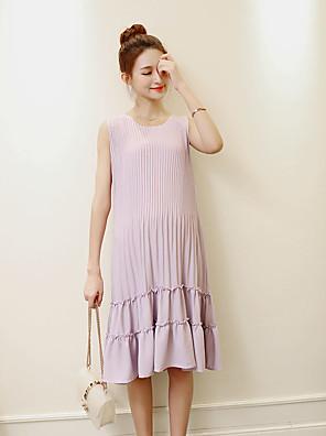 קיץ כותנה סגול ללא שרוולים מידי צווארון עגול אחיד פשוטה יום יומי\קז'ואל שמלה משוחרר ליולדות