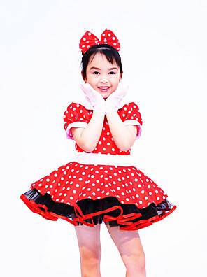 Roupas de Dança para Crianças Vestidos Crianças Actuação Elastano / Poliéster Arco(s) / Bolinhas 2 Peças Manga Curta NaturalVestidos /