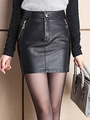 PU-Micro-elastisch-Sexy / Eenvoudig-Boven de knie-Vrouwen-Rokken