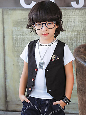 Boy's Casual/Daily Solid Vest,Linen / Polyester Spring / Fall Black