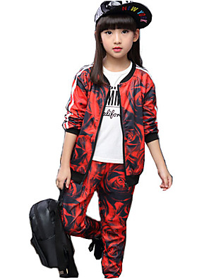 סט של בגדים יום יומי\קז'ואל דפוס כותנה / ריון אביב / סתיו צבעוני / אדום הילדה של