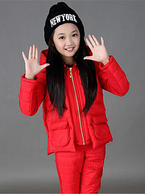 Girl's Casual/Daily Solid Down & Cotton Padded / Clothing Set,Cotton Winter Brown / Pink / Red