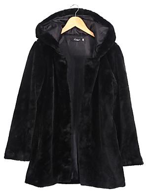 Mulheres Casaco de Pelo Casual Moda de Rua Inverno,Sólido Preto Poliéster Com Capuz-Manga Longa Média