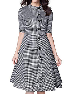 Women's Casual Houndstooth Round Neck Knee-length ½ Length Sleeve Gray Polyester Spring