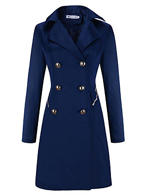 אחיד דש רשמי מתוחכם יום יומי\קז'ואל מעיל נשים,כחול / בז' / שחור שרוול ארוך חורף עבה אחרים