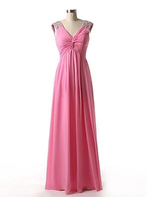 2017 assoalho-comprimento chiffon dama de honra vestir uma linha v-pescoço com beading / drapeados lado