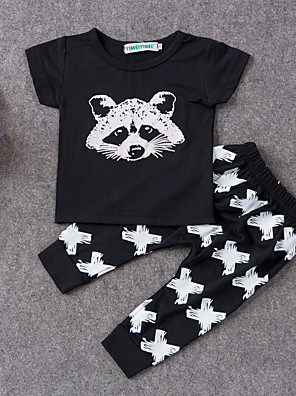 Baby Casual/Daily Print Clothing Set-Cotton-Summer-Black