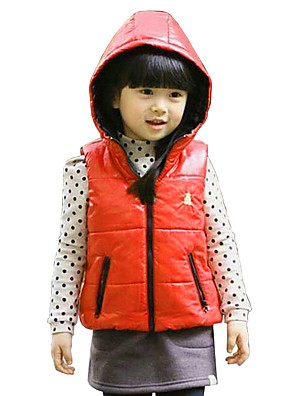 Girl's Casual/Daily Embroidered Vest,Polyester Winter / Spring / Fall Black / Blue / Orange / Pink