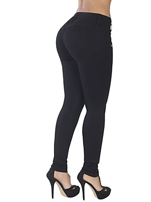 Ženy Pevná netkaná bavlna Jednobarevné Legging