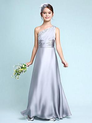 Lanting Bride® Longo Chiffon Vestido de Daminha de Honra Tubinho Mula Manca com Drapeado Lateral / Franzido