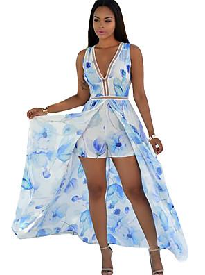 קיץ פוליאסטר כחול ללא שרוולים מקסי V עמוק פרחוני וינטאג' / בוהו יום יומי\קז'ואל שמלה נדן נשים