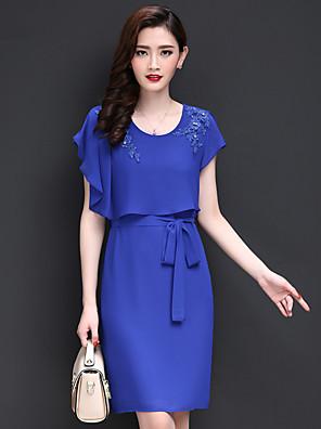 קיץ פוליאסטר כחול / שחור / ירוק שרוולים קצרים מעל הברך צווארון עגול רקמה וינטאג' / פשוטה ליציאה / מידות גדולות שמלה נדן / שיפון נשים,