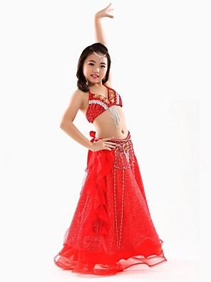 ריקוד בטן תלבושות בגדי ריקוד ילדים ביצועים שיפון Paillettes 3 חלקים בלי שרוולים נפול עליון / חגורה / חצאיתTop Length :34cm Skirt