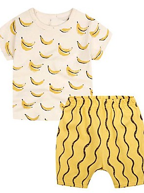 Boy's Casual/Daily Print Clothing Set,Cotton Summer Yellow
