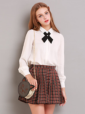 Linjou Women's Going out Simple Fall ShirtSolid Shirt Collar Long Sleeve White Polyester Medium