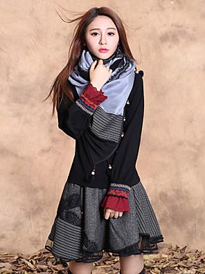 Rayon / Polyester / Spandex-Micro-elastisch-Street chic-Boven de knie-Vrouwen-Rokken