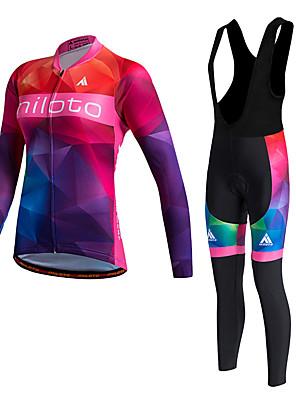 Miloto® חולצת ג'רסי וטייץ ביב לרכיבה לנשים שרוול ארוך אופניים שמור על חום הגוף / ייבוש מהיר / בטנת פליז / חדירות ללחות / דחיסה / תומך זיעה