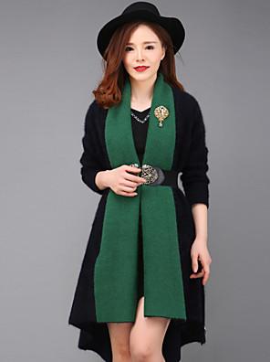 yang x-m vrouwen uitgaan eenvoudige coatcolor blok V-hals met lange mouwen