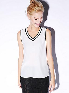 Newbefore Women's Sports Active Summer Tank TopSolid V Neck Sleeveless White / Black