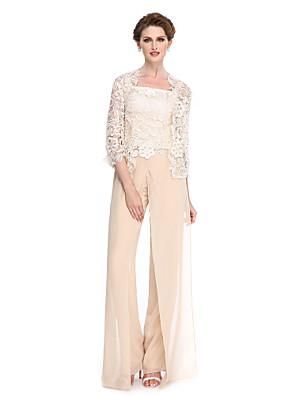 2017 Lanting bride® plášť / sloupec matka nevěsty šaty podlahy délky 3/4 délka rukávu šifon / krajkou s