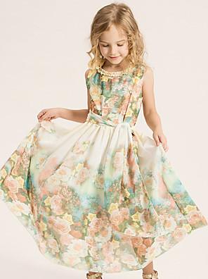 Girl's Beach Floral DressCotton / Polyester Summer / Spring Green / Pink
