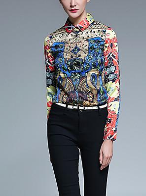 Dames Vintage Alle seizoenen Overhemd,Casual/Dagelijks Print Overhemdkraag Lange mouw Rood Polyester Medium
