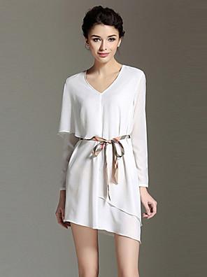 burdully vrouwen uitgaan eenvoudige losse dresssolid V-hals mini met lange mouwen mid stijging inelastisch medium