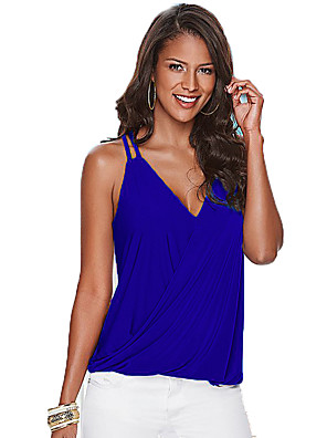 Women's Going out / Party/Cocktail Sexy / Simple All Seasons Tank TopSolid V Neck Sleeveless Blue / Red /