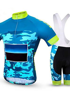 ספורטיבי חולצת ג'רסי ומכנס קצר ביב לרכיבה לגברים שרוול קצר אופניים נושם / ייבוש מהיר / נוח מדים בסטים Coolmax קלאסי קיץכושר גופני / רכיבה