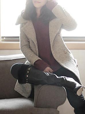 Mulheres Casaco Inverno,Sólido Cinza Lã / Poliéster / Outros Colarinho de Camisa / Decote Quadrado-Manga Longa Grossa