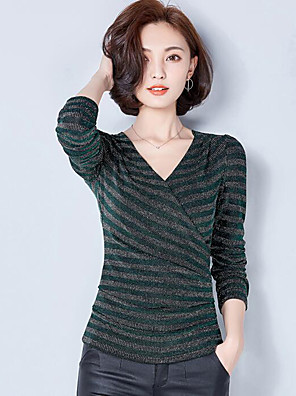 Women's Plus Size / Casual/Daily Street chic Spring / Fall T-shirtStriped V Neck Long Sleeve  Polyester Medium