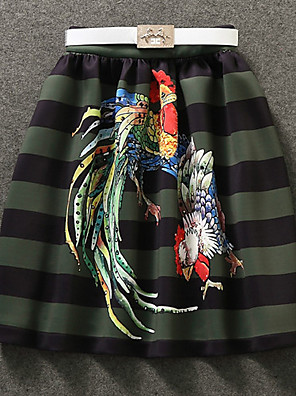 Kvinders Simpel Knælang Nederdele Uelastisk Polyester