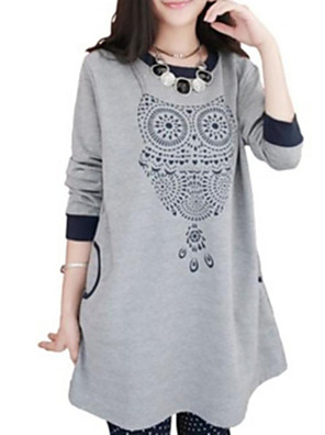 Maternity Casual Round Collar Contrast Color Owl Print Long Sleeve Sweater