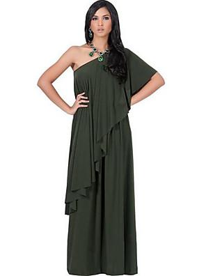 סתיו כותנה / ספנדקס כחול / אדום / שחור / ירוק שרוולים קצרים מקסי / עד הברך א-סימטרי אחיד וינטאג' יום יומי\קז'ואל / מידות גדולות שמלה