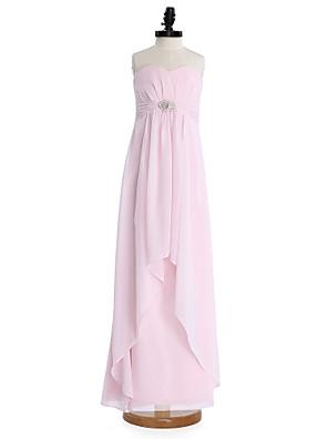 2017 Lanting bride® podlahy Délka šifónové junior družička šaty plášť / sloupec srdíčko s krystalovou broží