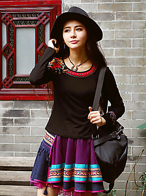 OUR STORY  Going out Chinoiserie Spring / Fall T-shirtEmbroidered Round Neck Long Sleeve Black Cotton / Spandex Medium