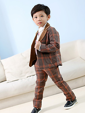 Boy's Casual/Daily Clothing SetCotton Fall Brown