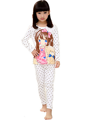 Girl's Casual/Daily Polka Dot Cartoon Print Cotton Sleepwear