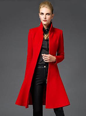 Damen Solide Anspruchsvoll Ausgehen Mantel,Winter Ständer Langarm Rot / Schwarz Mittel Wolle