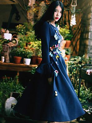 Dame Vintage I-byen-tøj / Casual/hverdag Swing Kjole Broderi,Rund hals Midi Langærmet Blå Bomuld / Nylon Forår Højtaljede Mikroelastisk