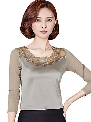 Women's Plus Size Going out Casual Daily Simple Street Blouse Solid Lace Round Neck Long Sleeve